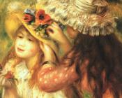 Pierre Auguste Renoir : Girls Putting Flowers in their Hats